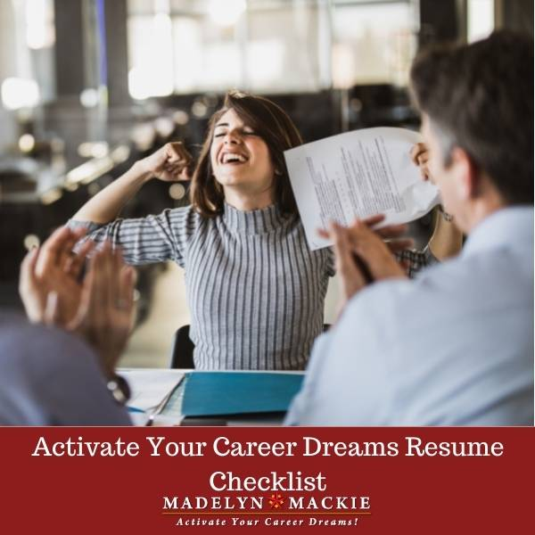 Activate Your Career Dreams Resume Checklist